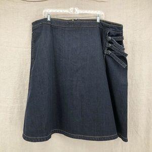 Custom eSHAKTI Indigo Denim Buckle A-line Skirt